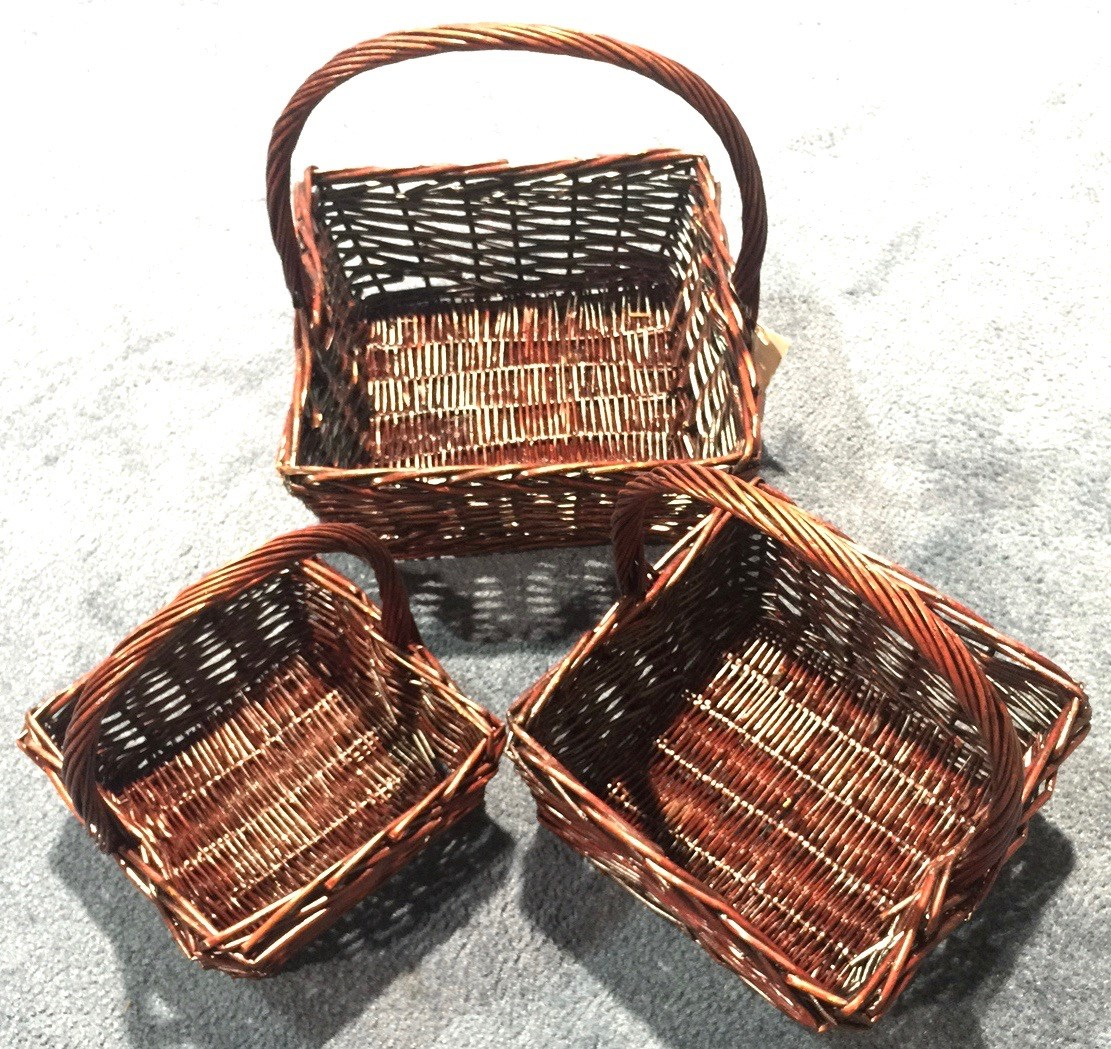 Wicker Basket Stained Square Set/3