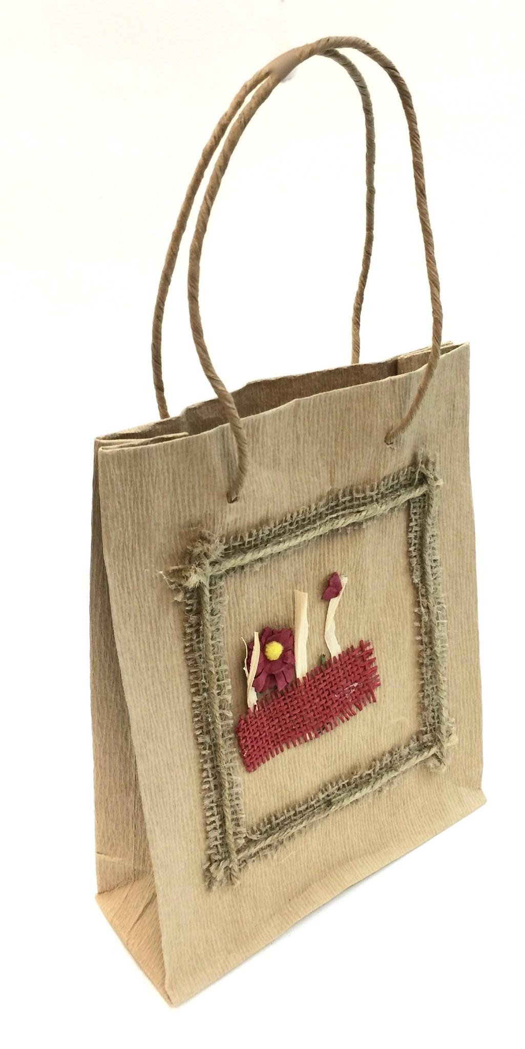 Gift Bag - Ribbed W/Flower