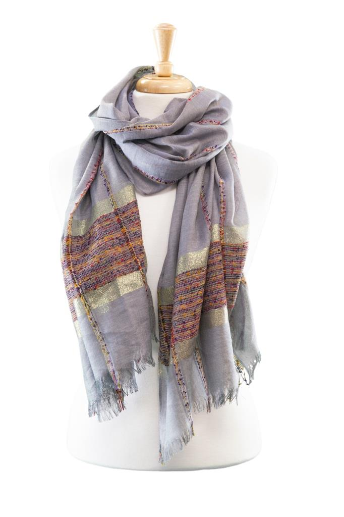 Gold Striped Scarf asst*