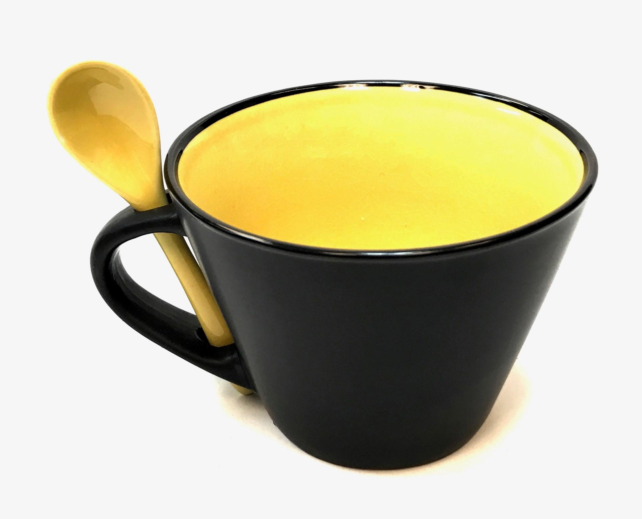 16 Oz Matte Mug W/Spoon - Yellow/Black