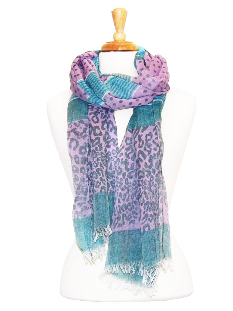 Striped Animal Print Feather Edge Scarf Asst