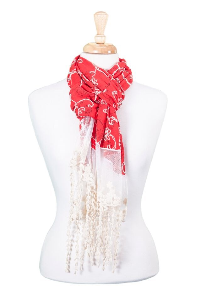Lacey Embroidered School Scarf Asst*