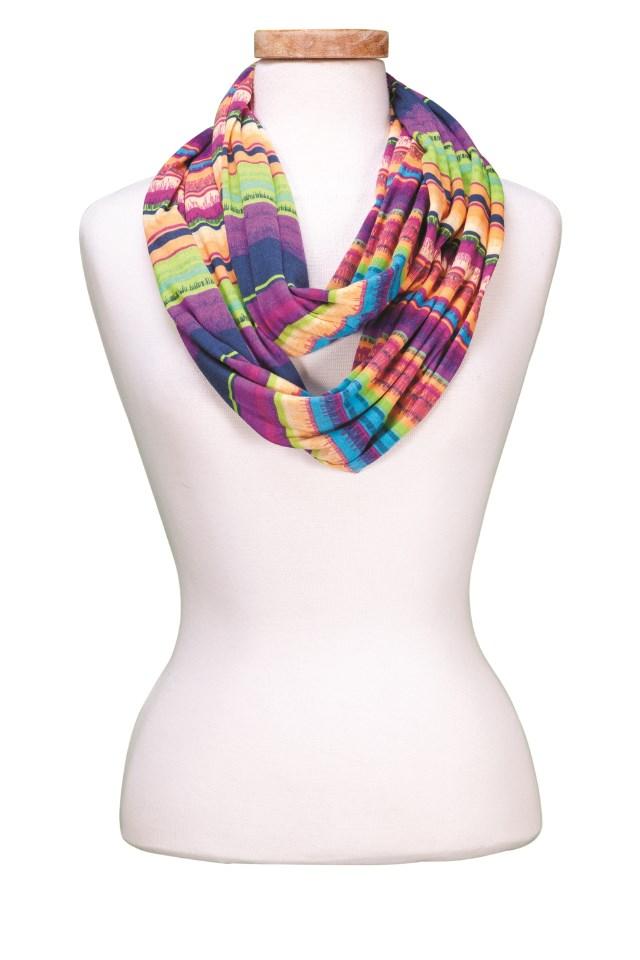 (INF606) Rainbow Stripes Infinity Scarf Asst