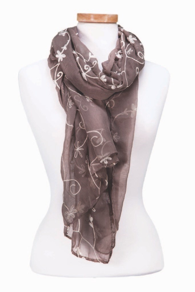 Embroidered Floral Scarf Asst