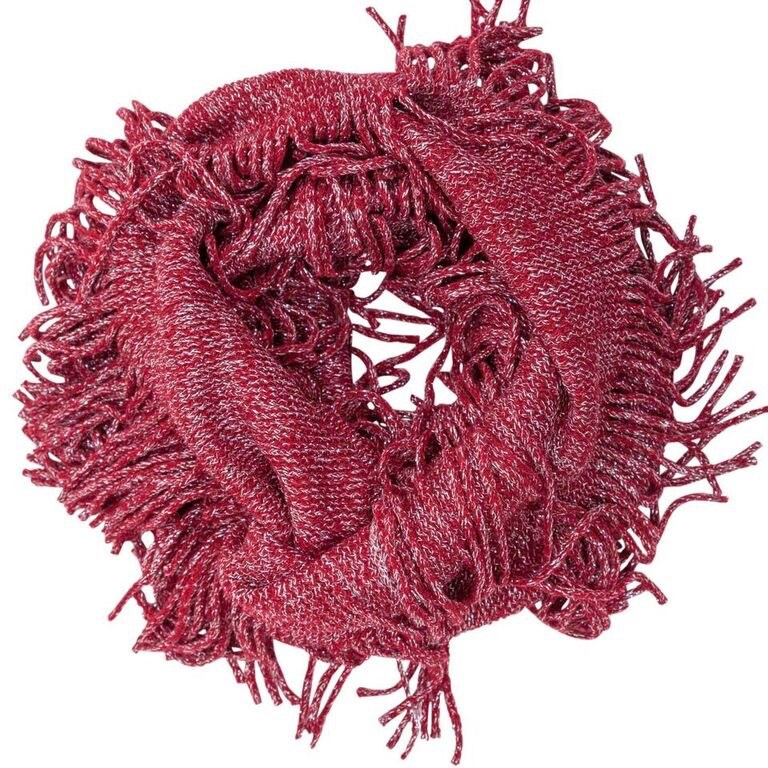 Evening Sparkle Fringed Infinity Scarf Asst*