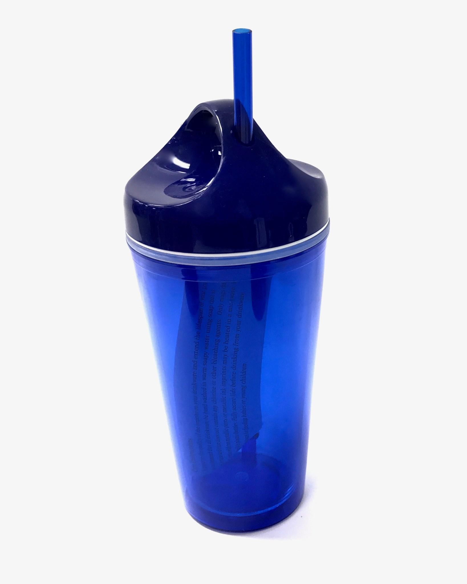 (0017481) Circle Lid Acrylic Tumbler 16 Oz - Blue/Blue
