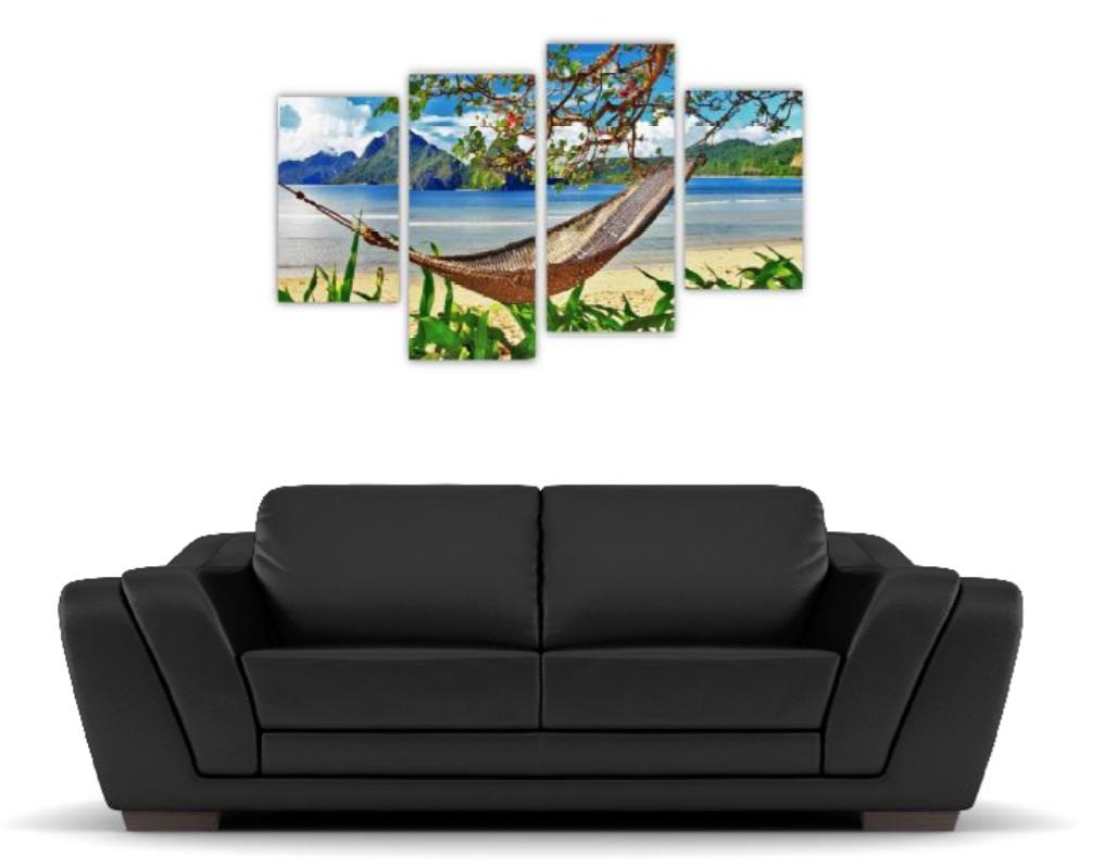 4 Pc Canvas Art Set - Beach Hammock