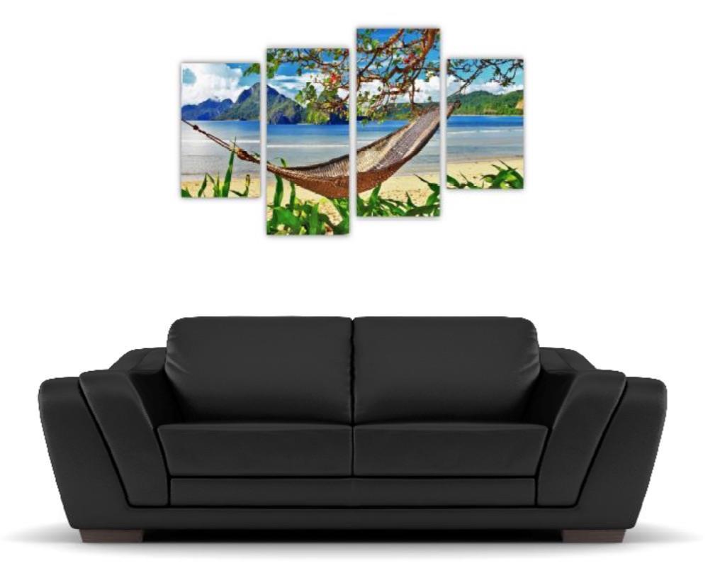 4 Pc Canvas Art Set - Beach Hammock