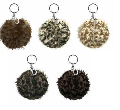Animal Print Fur Pom Pom Asst