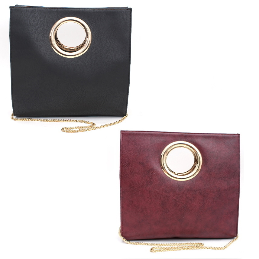 Fashion Handbag Circle Handle Black/Plum
