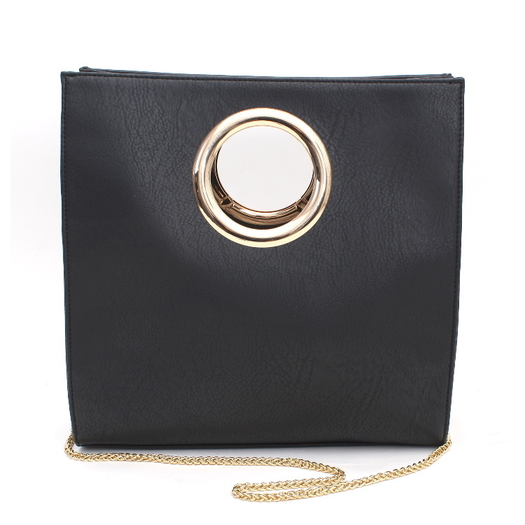 Fashion Handbag Circle Handle Black