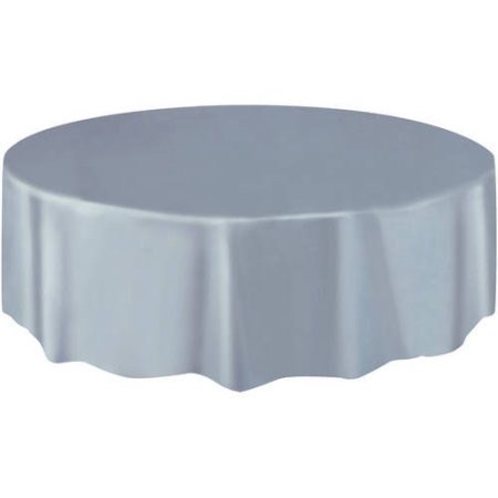 "Round Table Cover 84"" - Silver"