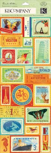 KCO Stickers Embossed BW Around World Postage