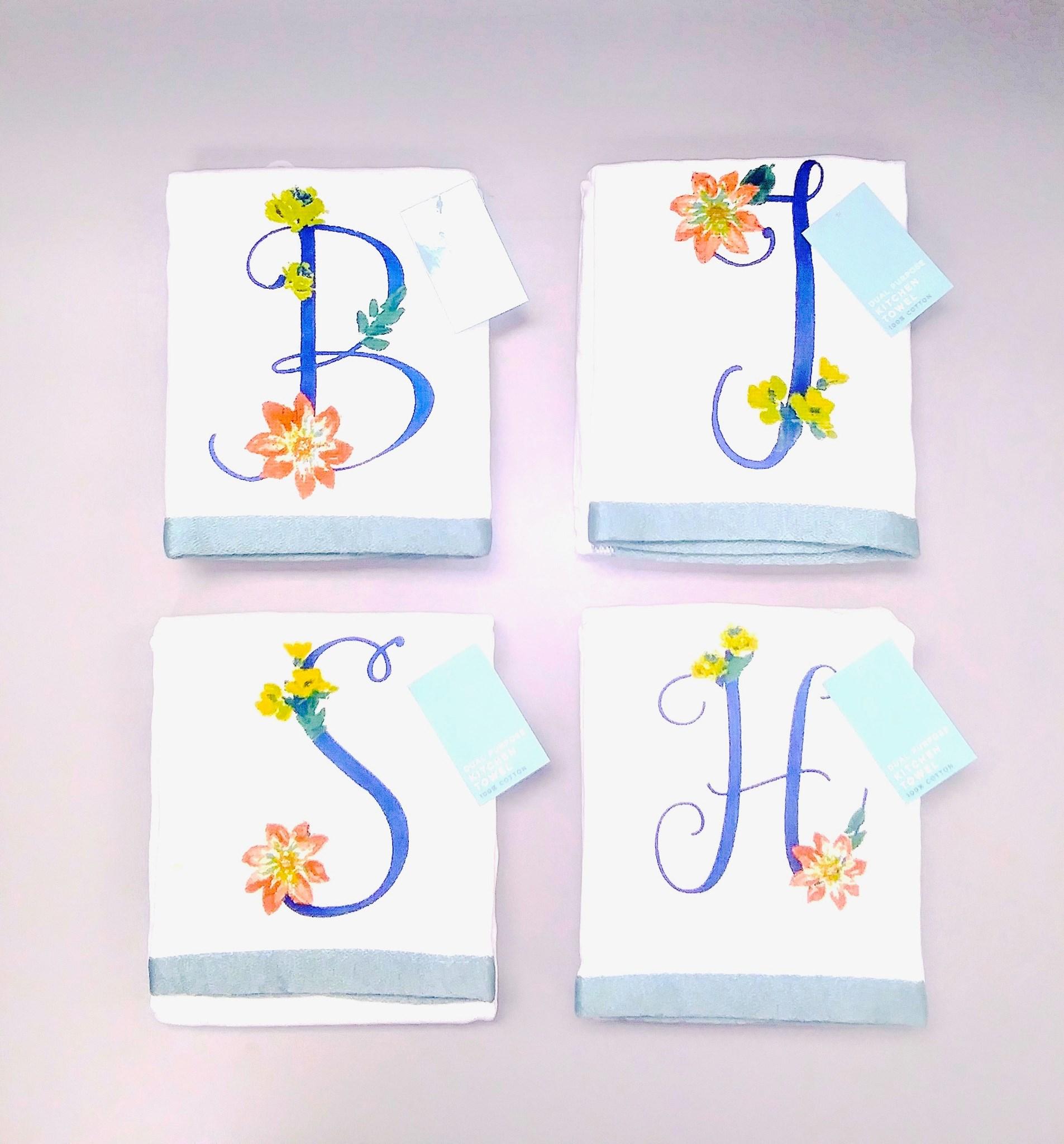 """17/""""x28/"""" 1 MONOGRAM PRINTED KITCHEN TOWEL 100/% cotton,FLOWERS /& LETTER D,Finola"""