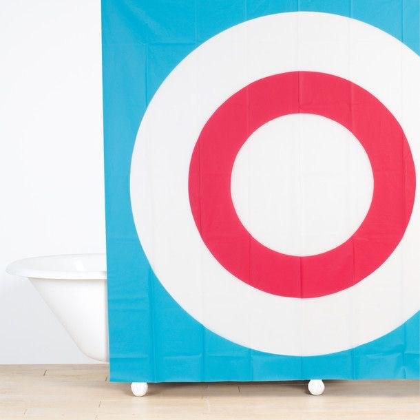 (JF8004) Bullseye Shower Curtain Red