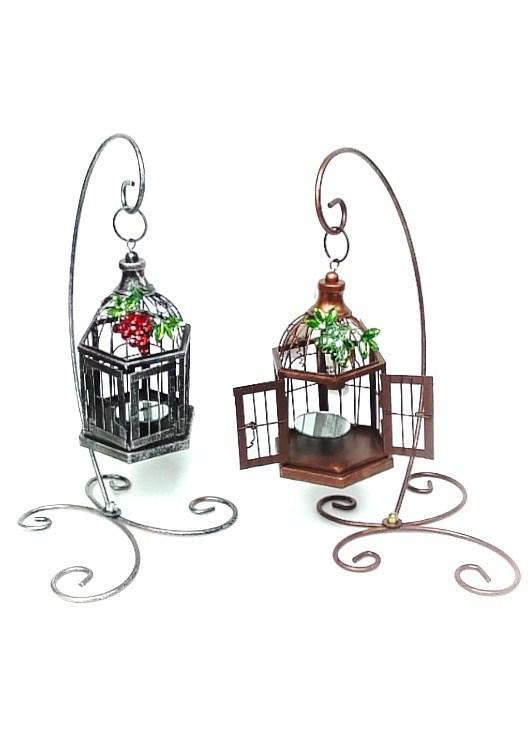 Bird Cage Candleholder Asst