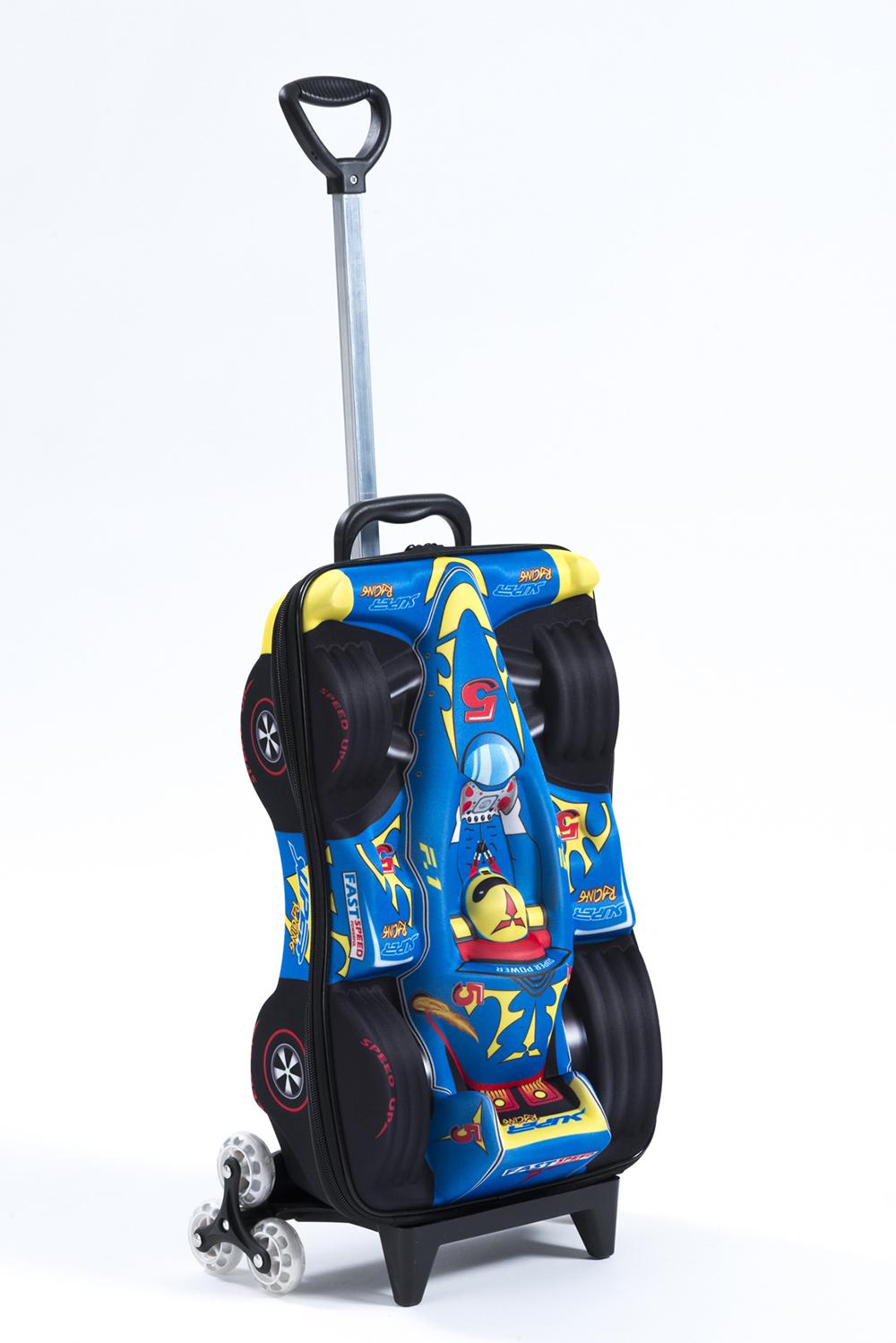 3 Wheel Rolling Bag - Blue Super Power Racecar