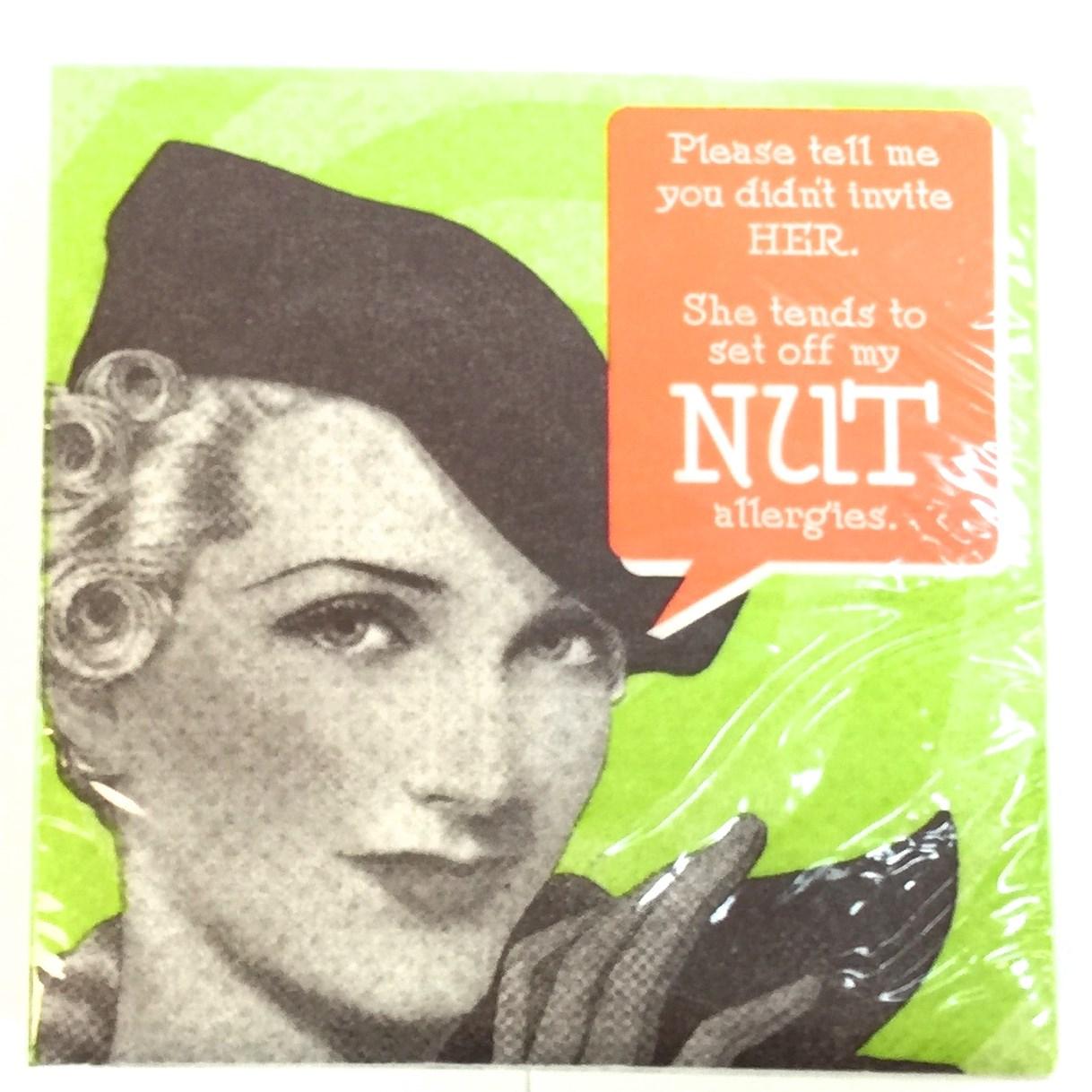"""20 Ct Beverage Napkin - """"Nut"""""""