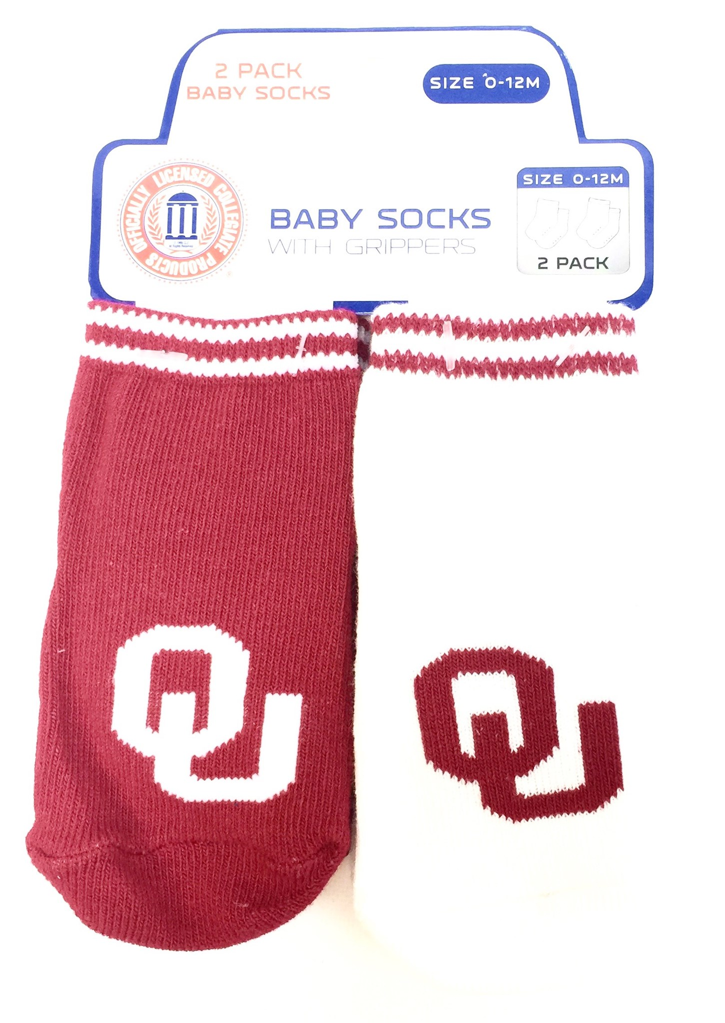 Carded 2 Pk Baby Socks w/Grippers - Oklahoma State