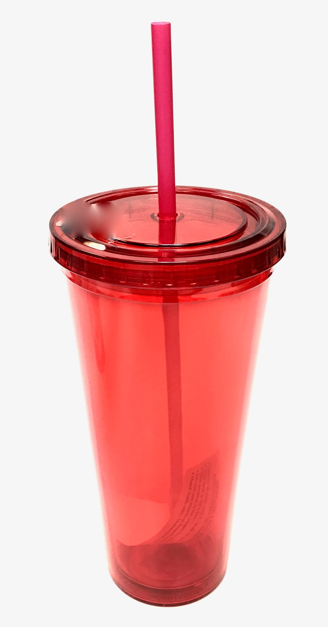 24 Oz Double Wall Acrylic Tumbler w/Straw - RED