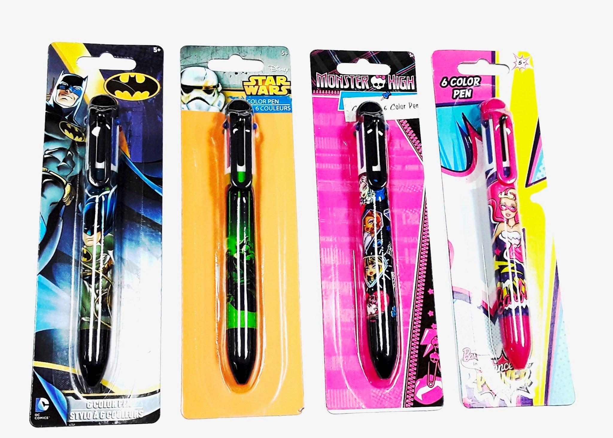 Licensed 6 Color Pen Asst