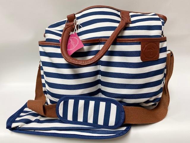 Diaper Bag w/ Pad - Navy//White Stripe