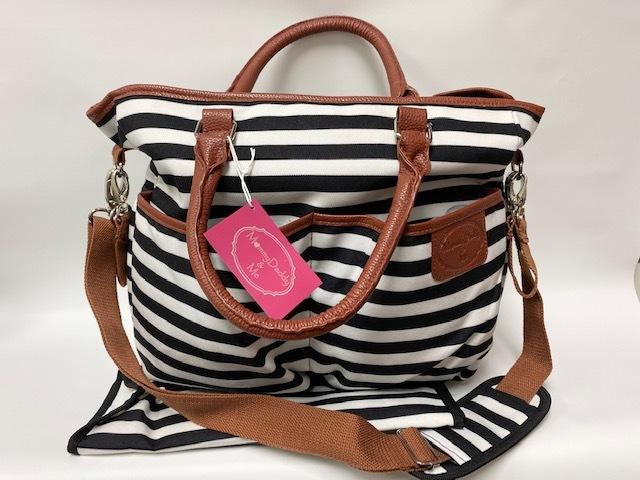 Diaper Bag w/ Pad - Black/White Stripe