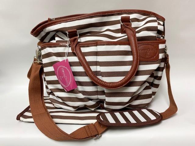 Diaper Bag w/Pad - Brown/White Stripe