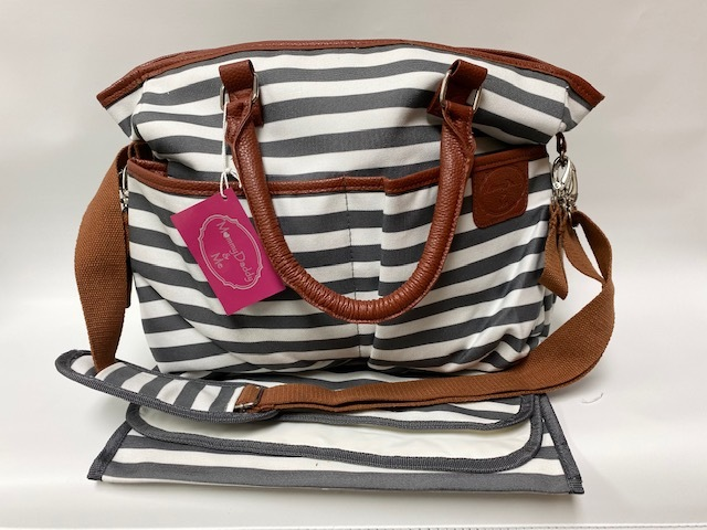 Diaper Bag w/Pad - Grey/White Stripe