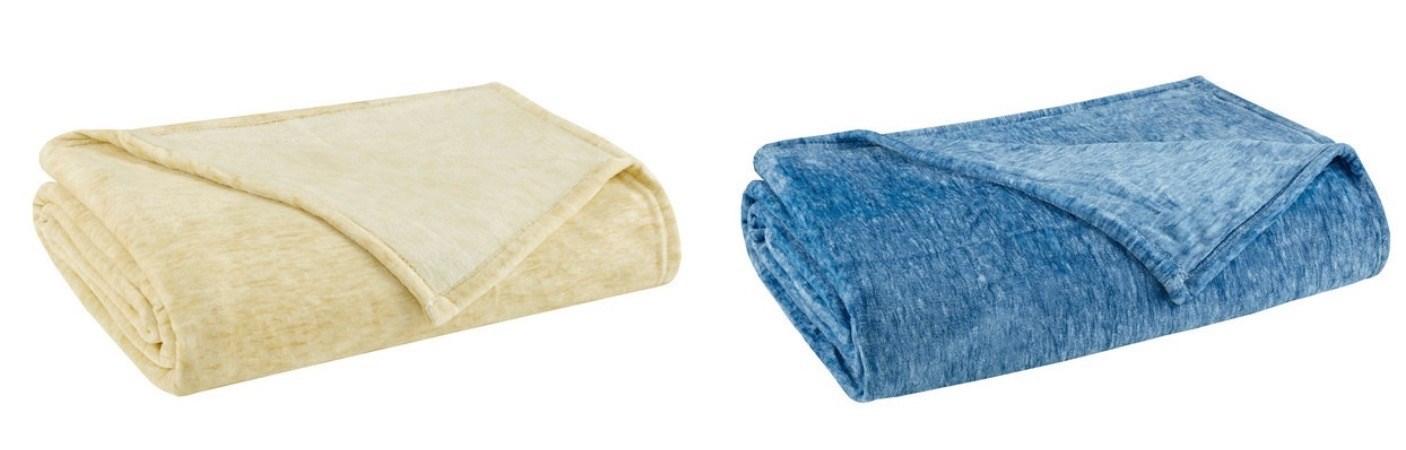Melange Plush Blanket Full queen 2 Colors