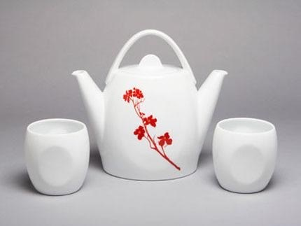Duet Tea Set Dogwood Blossom Flame