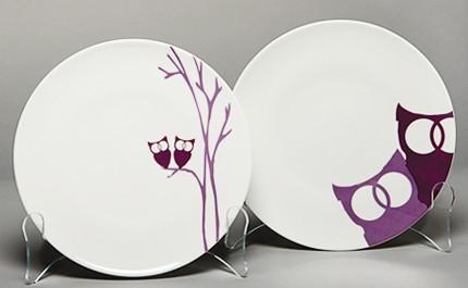 Set/4 Dessert Plates Purple Owls