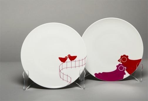 Set/4 Dessert Plates Red Chickens
