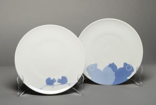 Set/4 Dessert Plates Blue Squirrels