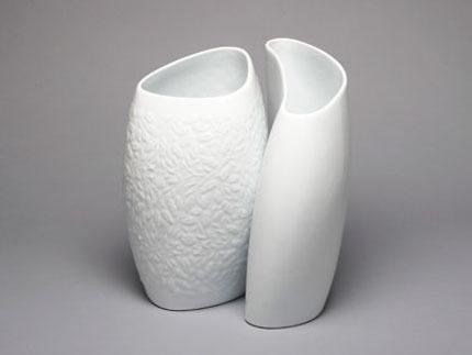 Large Vase 2/A Acorn Leaf Relief White