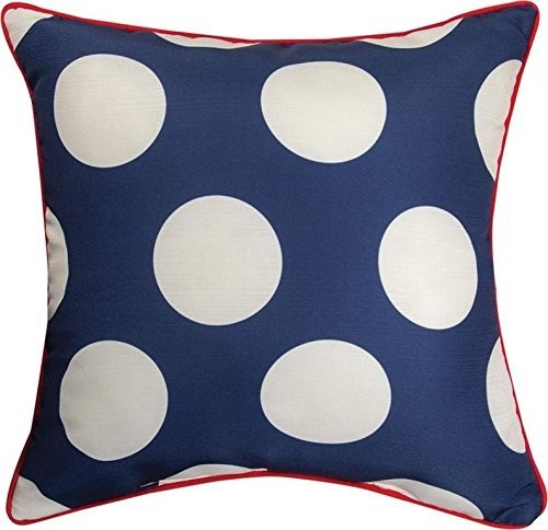 Red White Blue Navy Dots Pillow