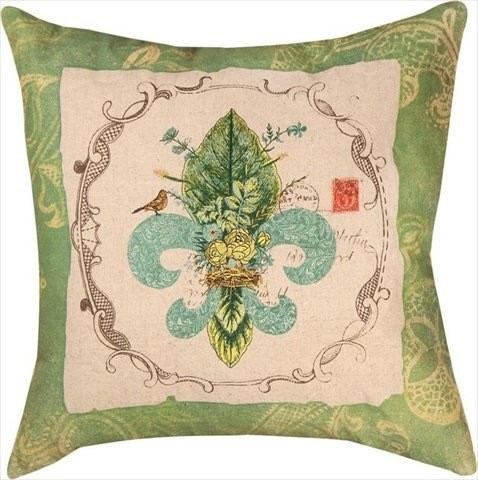 Fleur De Lis Embroidered Pillow