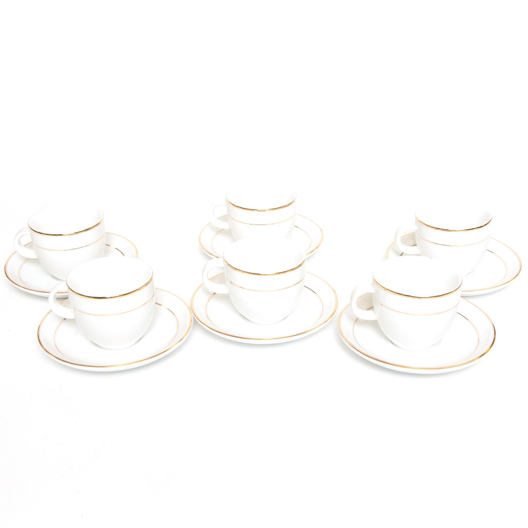 (12051) Gold Rim Espresso Cup/Saucer Set/6