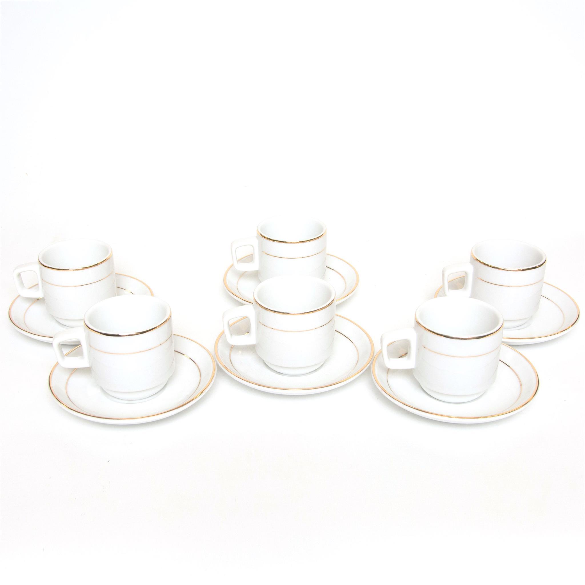 (12056) Gold Rim Expresso Cup/Saucer Set/6