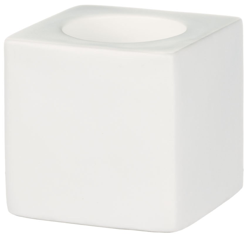 "3.75"" Cube Candle Holder - White"