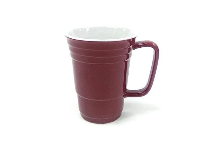 14 Oz White In/Maroon Out Solo Mug
