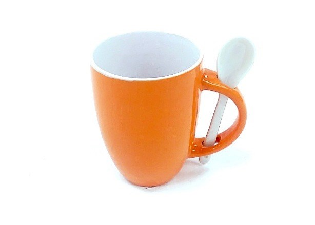 12 Oz White In/Orange Out Spoon Mug
