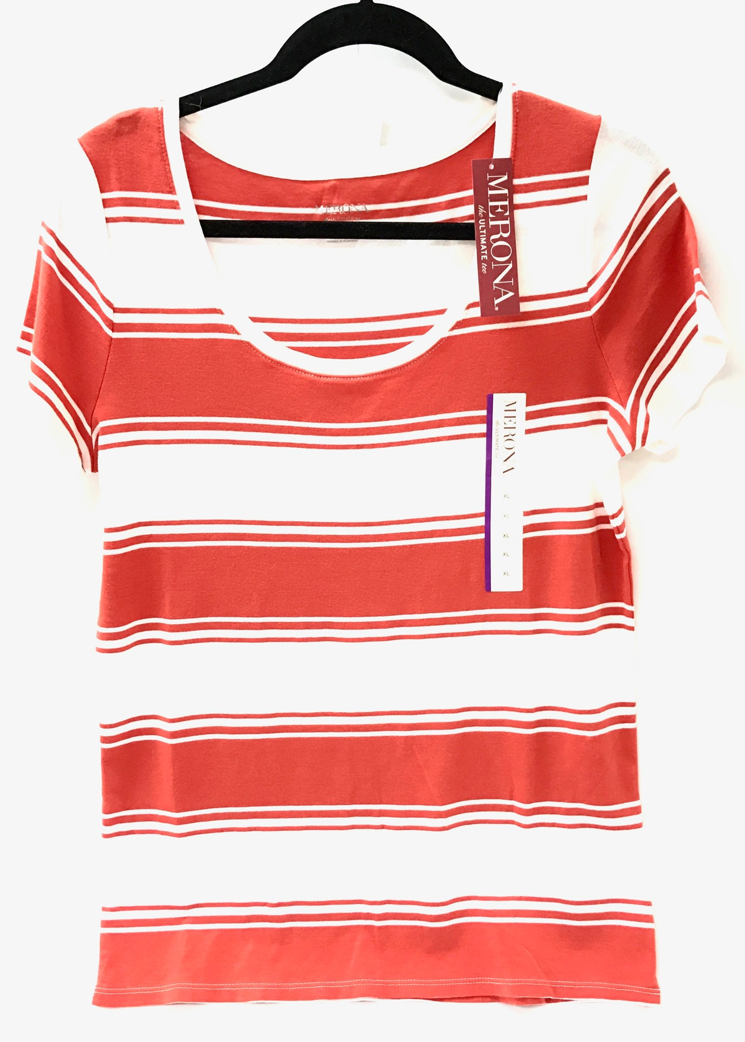 Scoop Neck Ladies Shirt Org/Wht Size X-Large