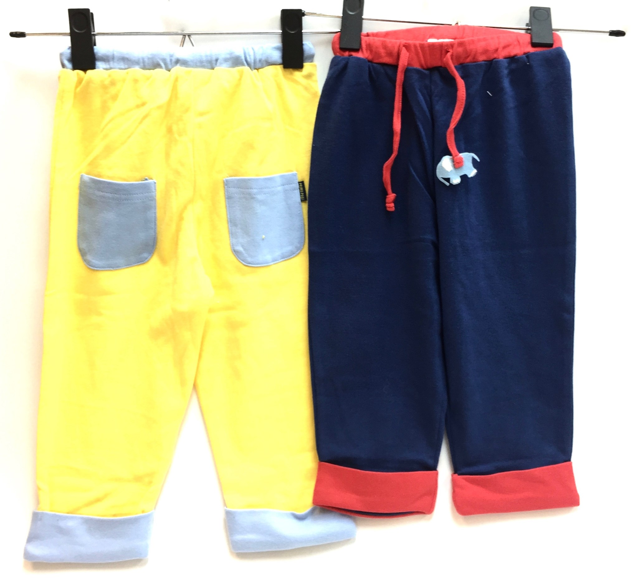 (IBWK511) Cotton Pants Blue/Yellow 2/A