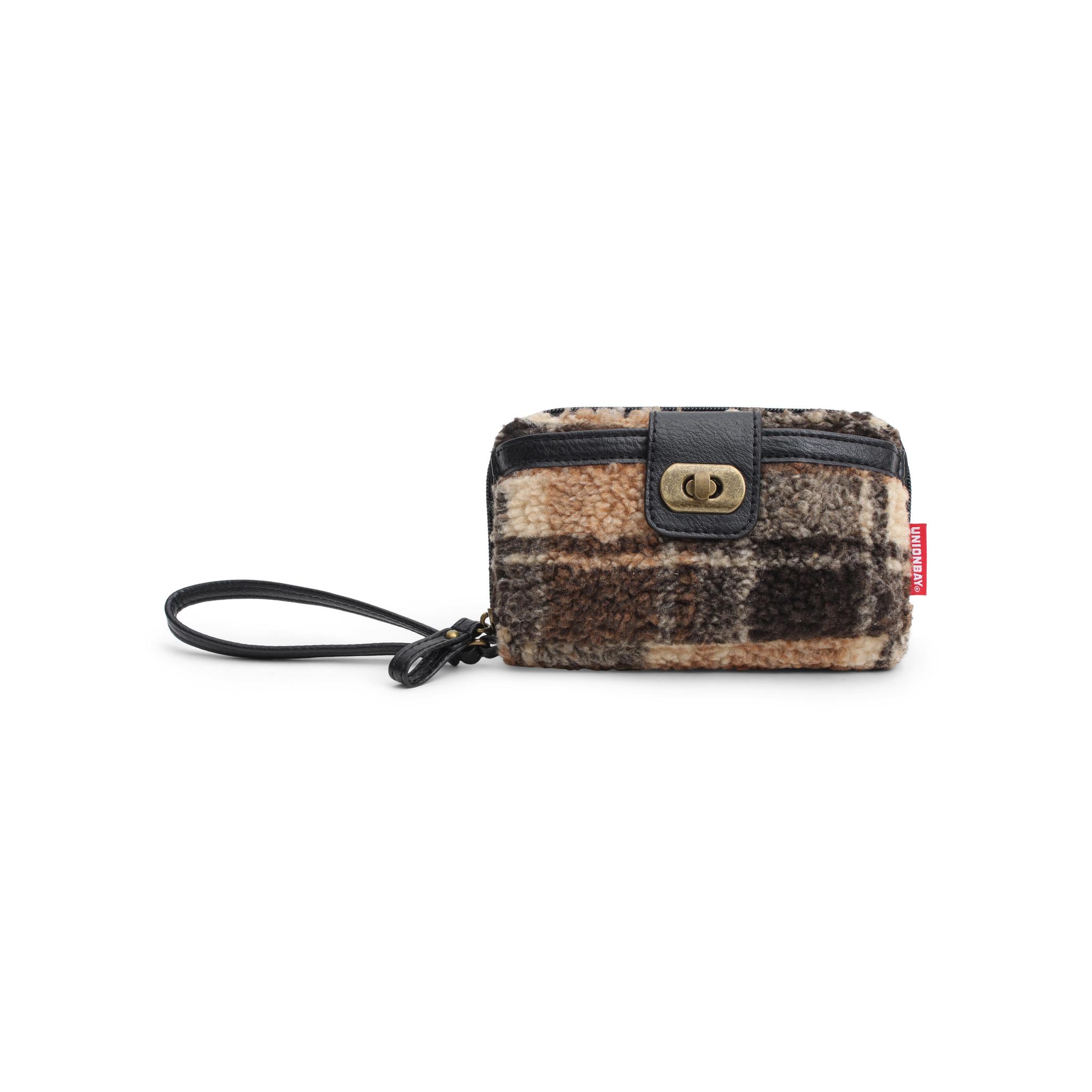 Wallet Black/Brown Plaid Fur