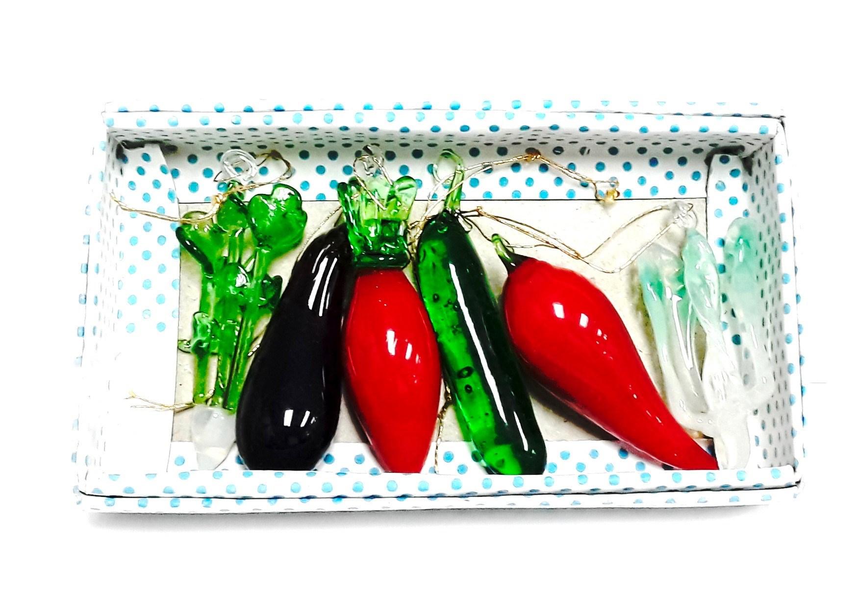 Asst Glass Vegetable 6pcs/set
