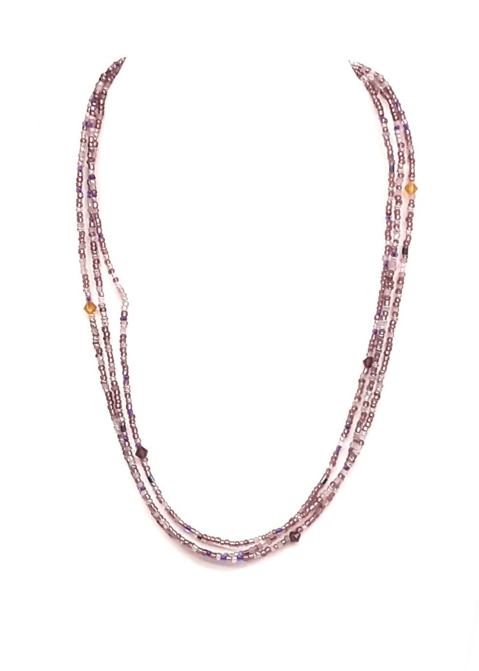 "18"" L Amethyst Multi Glass Bead chain"