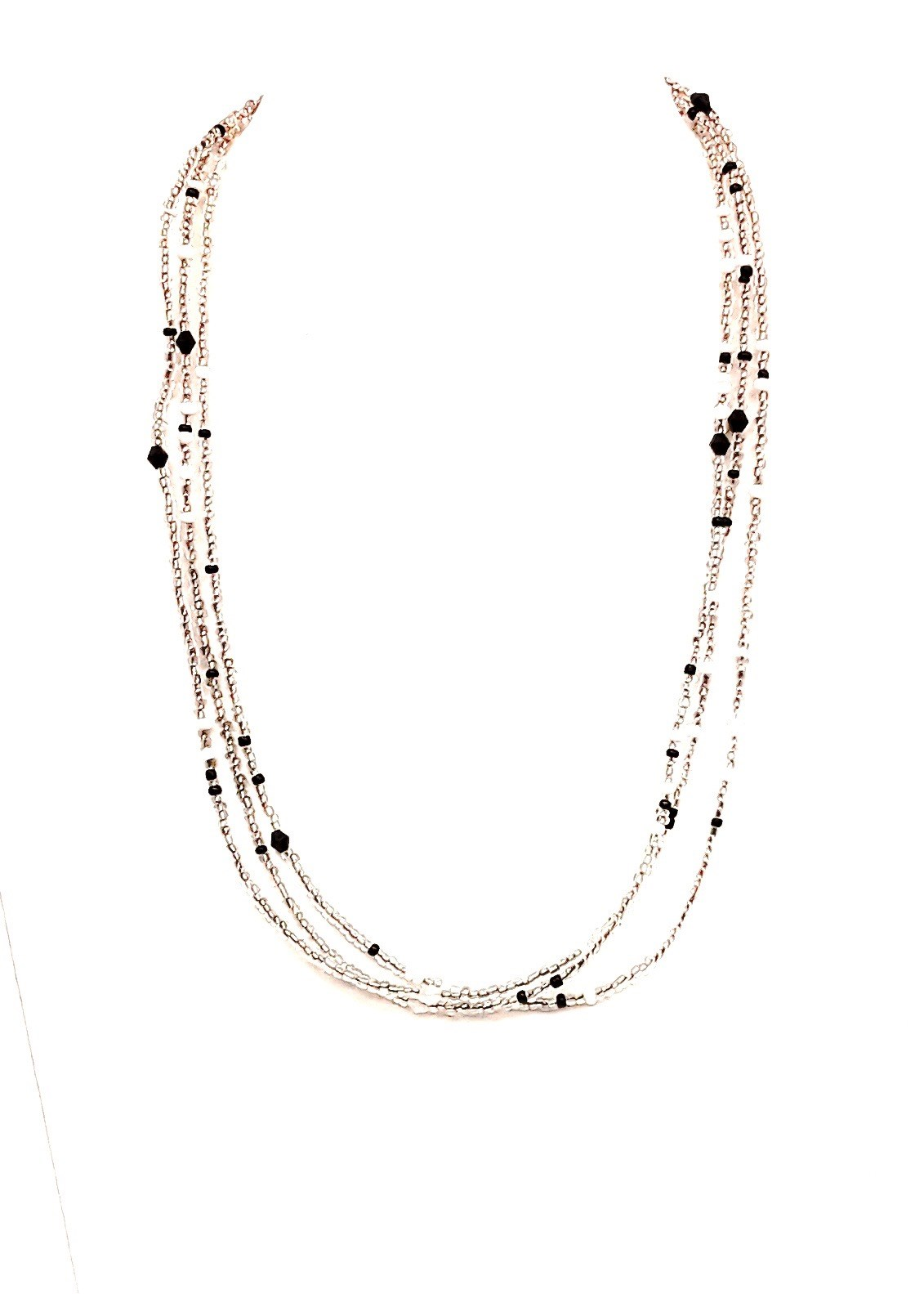 "18"" L White Multi Glass Bead chain"