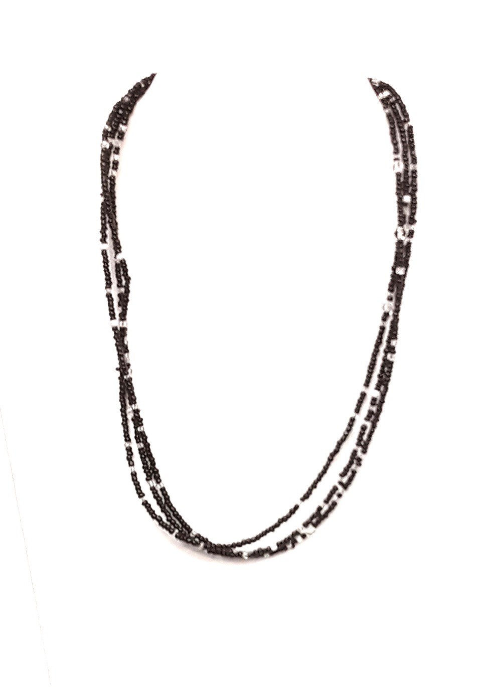 "18"" L Black Multi Glass Bead Chain"