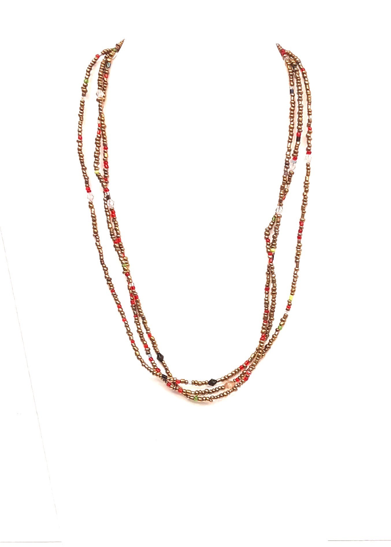 "18"" l Gold Multi Glass Bead Chain"